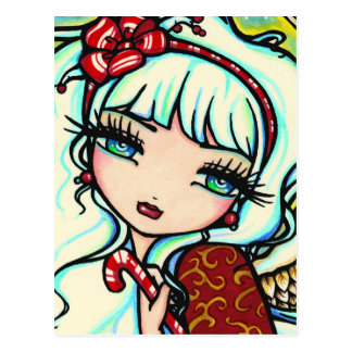 Christmas Candy Cane Angel Fantasy Art Postcard
