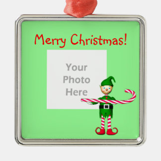 Christmas Candy Cane Elf (photo frame) Silver-Colored Square Ornament
