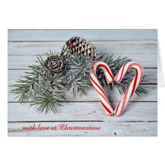 Christmas candy cane heart card