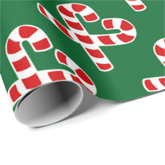 Christmas candy cane heart wrapping paper