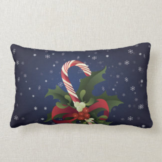 Christmas candy cane in a mistletoe and holly berr lumbar pillow