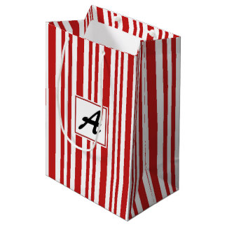 Christmas Candy Cane Monogram Medium Gift Bag