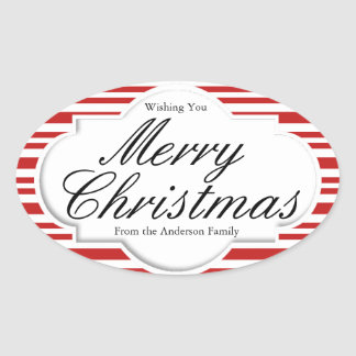 Christmas Candy Cane Party Oval Sticker