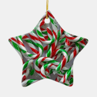 Christmas candy cane pattern ceramic star ornament