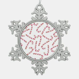 Christmas candy cane pattern pewter snowflake ornament