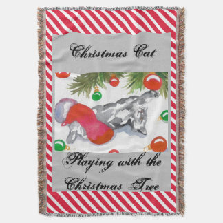 Christmas Candy Cane Stripe Kitty Cat Holiday 3 Throw