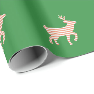 Christmas - Candy Cane Striped Reindeer Wrapping Paper