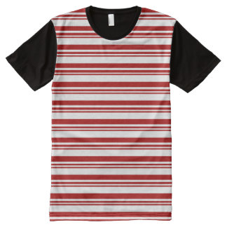Christmas Candy Cane Stripes All-Over-Print T-Shirt