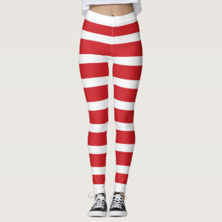 Christmas Candy Cane Stripes Leggings