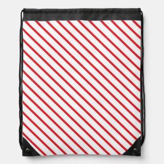 Christmas Candy Cane Stripes Pattern Drawstring Bag