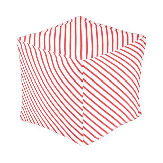 Christmas Candy Cane Stripes Pattern Pouf