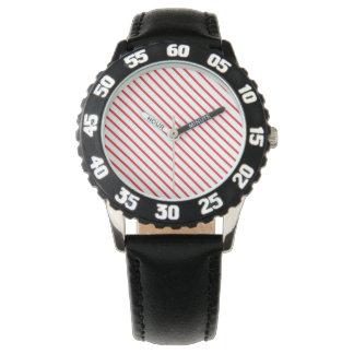 Christmas Candy Cane Stripes Pattern Wristwatch