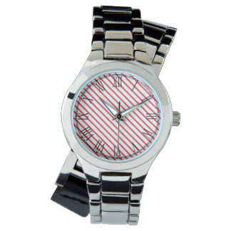 Christmas Candy Cane Stripes Pattern Wristwatches