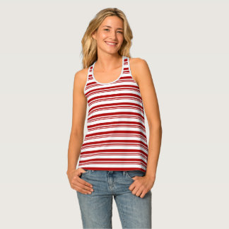 Christmas Candy Cane Stripes Tank Top