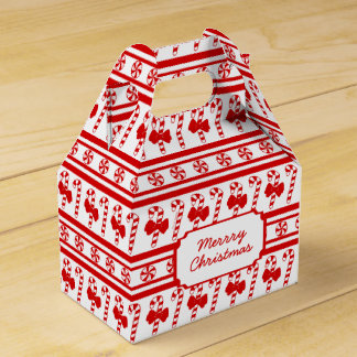Christmas Candy Cane Stripes Wedding Favor Box
