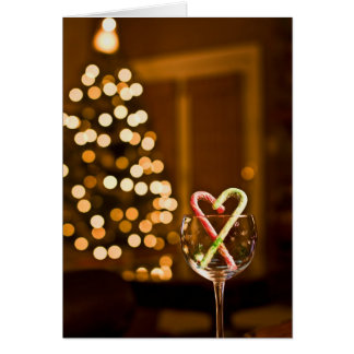 Christmas Candy Cane Wine Card