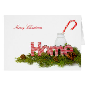 Christmas candy cane with home sign card