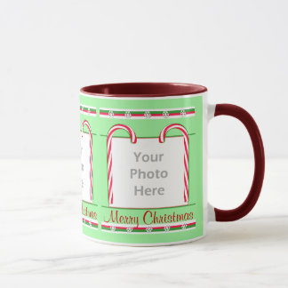 Christmas Candy Canes 3-Photo Frame Mug