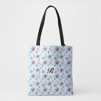 Christmas Candy Canes and Snowflakes Monogrammed Tote Bag