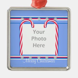 Christmas Candy Canes on Blue (photo frame) Square Metal Christmas Ornament