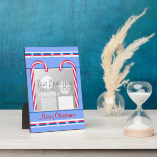 Christmas Candy Canes on Blue Display Plaque