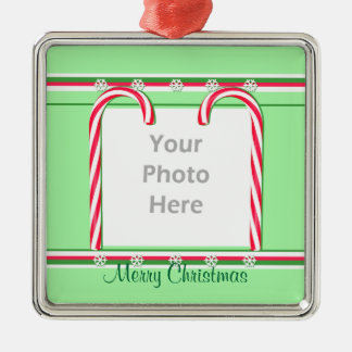 Christmas Candy Canes on Green (photo frame) Silver-Colored Square Ornament
