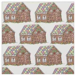 Christmas Candy Gingerbread House Fabric