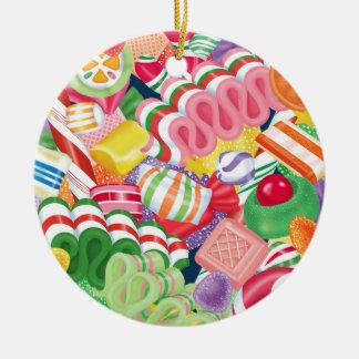 Christmas Candy Round Ceramic Ornament