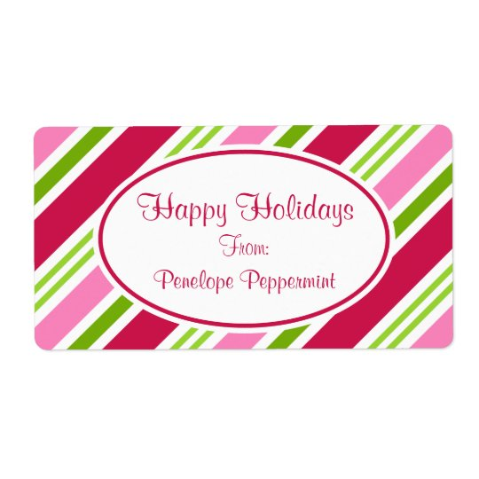 Christmas Candy Stripes Labels