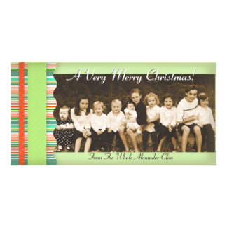 Christmas Candy Stripes Photo Cards