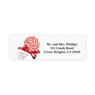 Christmas Candy Sucker with Greeting Holiday Return Address Label