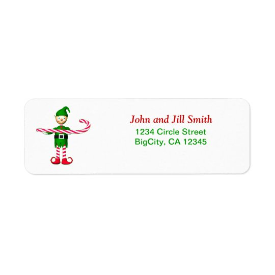 Christmas Candycane Elf Return Address Label