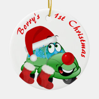 Christmas Car Cartoon Holiday Ornament
