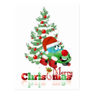 Christmas Car Cartoon Postcard