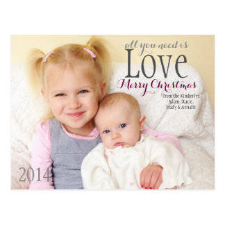 Christmas Card - All you need is Love Postcard