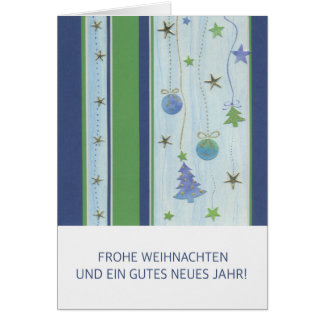 Christmas card blue strips with stars