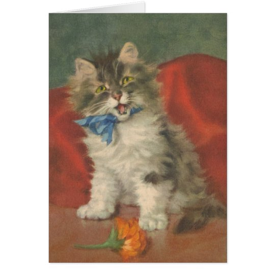 Christmas Card Cat  Vintage reproduction