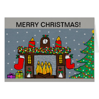christmas card colourful fireplace design