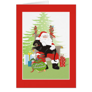 Christmas Card - Coonhound Dog - Black & Brown