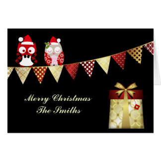 Christmas Card Country Owls Gold