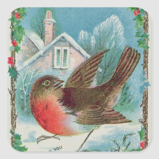 Christmas card depicting a robin square sticker
