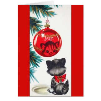 Christmas Card for cat lovers, Personalize