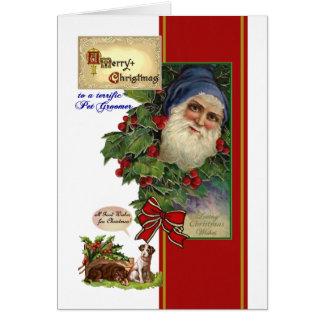 Christmas card for Pet Groomer - Vintage Santa