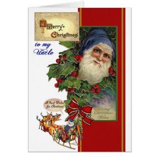 Christmas card for Uncle - Vintage Santa, Sleigh
