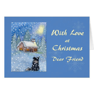 Christmas card friend, border collie dog
