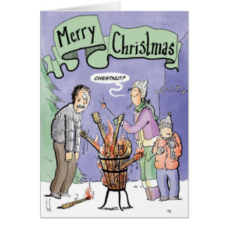 Christmas Card Guitar chestnut on an open fire
