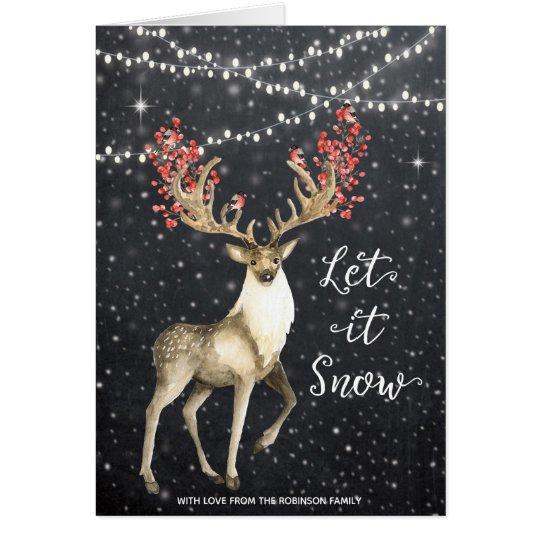 Christmas card holiday winter deer snow lights