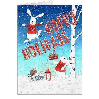 Christmas Card - Hoppy Holidays Happy Bunnies