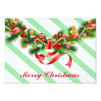 Christmas Card invitation Green Red