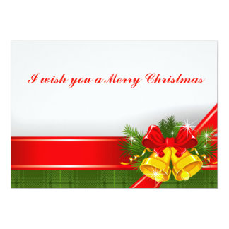 Christmas Card invitation Red with bells